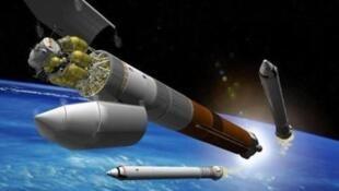 圖為中國大力神太空發射器長征9太空模擬