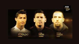 Cristiano Ronaldo (esq.), Lionel Messi (centro) e Frank Ribéry são os finalistas da Bola de Ouro.