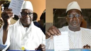 Le président sortant du Mali Ibrahim Boubacar Keïta (à gauche) sera face au chef de file de l'opposition Soumaïla Cissé (à droit