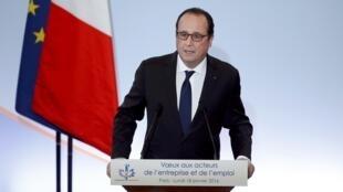 Le président de la République François Hollande, lors de ses voeux, aux forces économiques et sociales du pays, au Palais d'Iéna à Paris, le 18 janvier 2016.