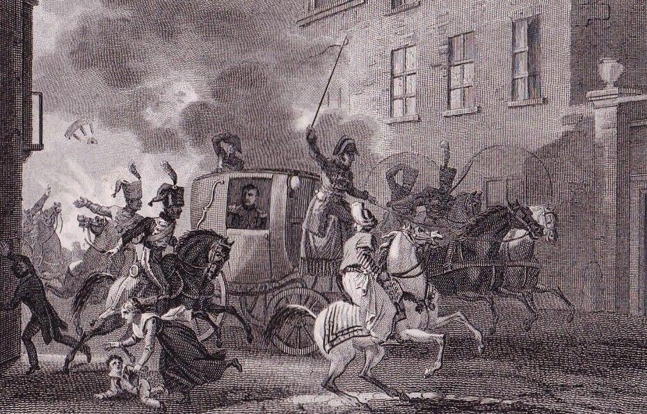 صحنه سوءقصد به جان ناپلئون بناپارت، کنسول اول دولت کنسولی فرانسه، در شب ٢٤ دسامبر سال ١٨٠٠ میلادی در پاریس.