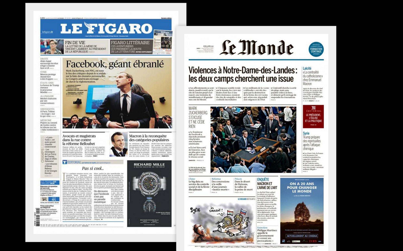 O depoimento do fundador e presidente-executivo do Facebook, Mark Zuckerberg, no congresso americano é analisado pela imprensa francesa desta quinta-feira(12).