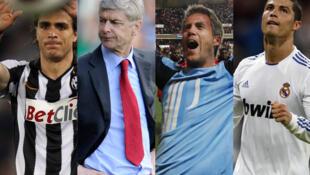 De gauche à droite: l'attaquant de la Juventus Turin Alessandro Matri, l'entraîneur d'Arsenal Arsène Wenger, le gardien de but de Lille Mickaël Landreau et l'attaquant du Real Madrid Cristiano Ronaldo.