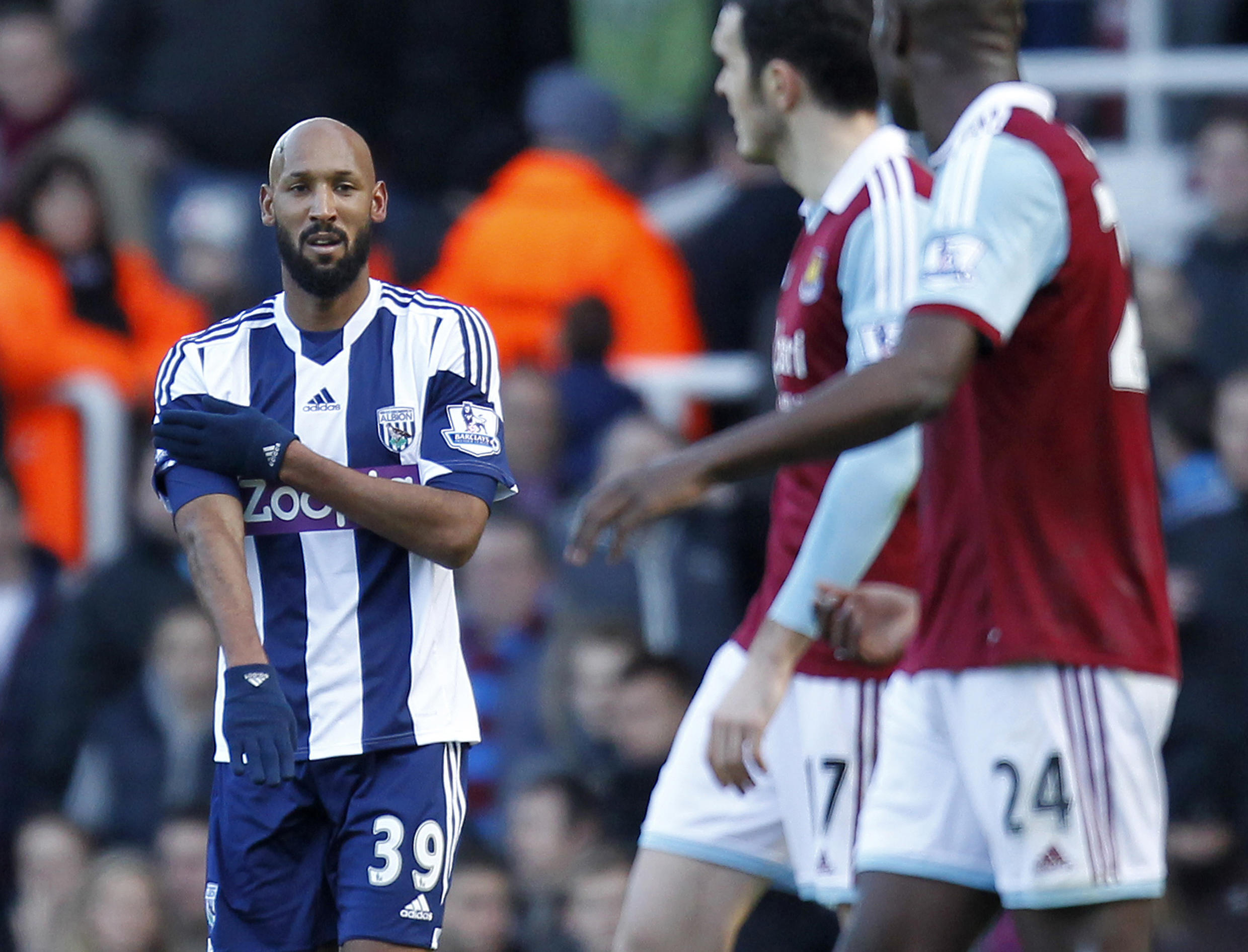 Nicolas Anelka makes the quenelle gesture to celebrate his goal, 28 december, 2013