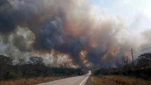 Los ambientalistas temen el mismo escenario que el año pasado, cuando cinco millones de hectáreas de bosque fueron arrasadas por incendios. Foto: alrededores de Robore, provincia de Santa Cruz, el 19 de agosto de 2019.