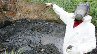 A site polluted with toxic waste at the Akouedo district in Abidjan 19 September 2006.