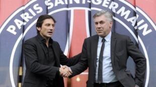 Carlo Ancelotti, lokacin yake kulla da yarjejeniya da PSG hannun Darectan kungiyar Leonardo.