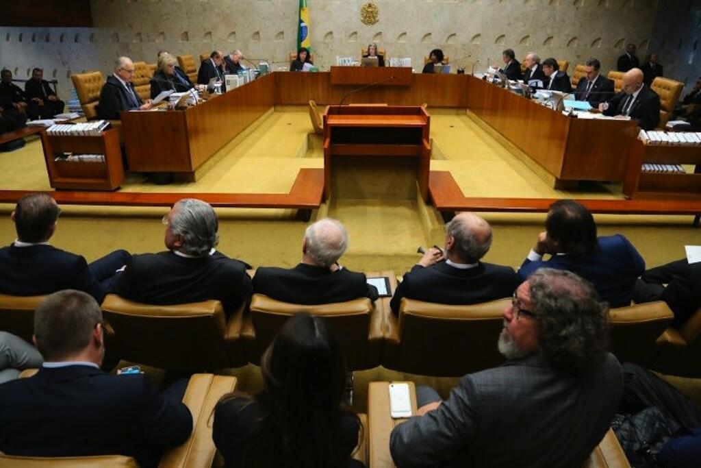 Majaji wa Mahakama Kuu ya Brazil wakijadili uamuzi wa kuchukua kuhusu kesi ya rais wa zamani wa Brazil Lula da Silva, tarehe 4 Aprili, 2018 Brasilia.