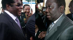 Morgan Tsvangirai (R) and Robert Mugabe (L)