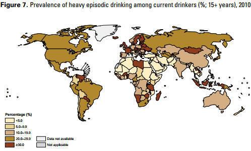 Доля сильно пьющих среди систематически потребляющих алкоголь (Данные ВОЗ)