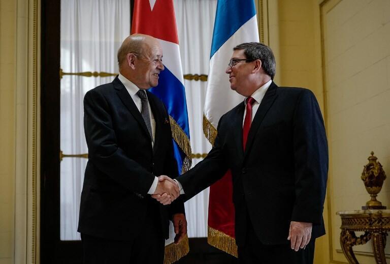 """دیدار """"ژان ایو لودریان"""" وزیر امور خارجه فرانسه با همتای کوبایی خود """"برونو رودریگز"""""""