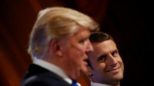 Tổng thống Pháp Emmanuel Macron và tổng thống Mỹ Donald Trump họp báo chung tại Điện Elysée, Paris, ngày 13/07/2017.