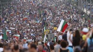 Cena de protestos na Bulgária contra o governo, em 8 de julho de 2013.