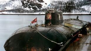 O submarino Kursk na base de Vidyayevo.