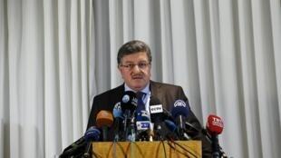 Salim  al-Muslat, membro da oposição síria. Genebra.31 de Janeiro  de 2016