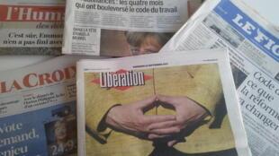 Primeiras páginas dos jornais franceses de 22 de setembro de 2017