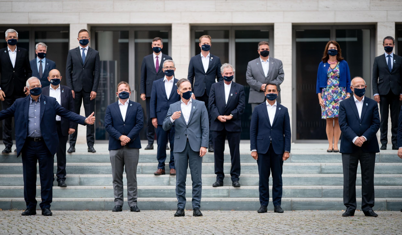 Los ministros y ministras europeos de Relaciones Exteriores, reunidos en Berlín el 28 de agosto de 2020