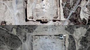Des images satellites confirment la destruction du temple de Bel seen en Syrie, l'ancien site de Palmyre. (Images du 27 et 31 août 2015)