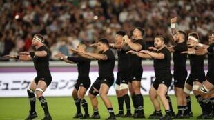 Les matches de rugby ont repris en Nouvelle-Zélande mais il faudra attendre encore un peu pour voir jouer les All Blacks (ici en octobre 2019 au Japon)
