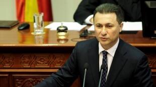 Le Premier ministre de Macédoine, Nikola Gruevski, s'adressant au Parlement, à Skopje, le 13 mai 2015.