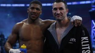 Anthony Joshua (left) beat Wladimir Klitschko after 11 rounds of their world heavyweight title fight.