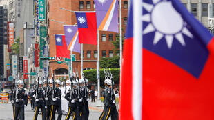 Quốc kỳ Đài Loan trong buổi lễ đón tổng thống quần đảo Marshall tại Đài Bắc ngày 27/07/2018. Ảnh minh họa.