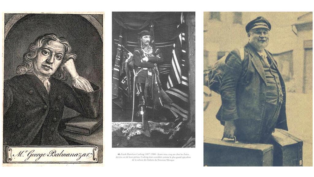 De gauche à droite, l'explorateur fraudeur du 17e siècle Psalmanazar, Frank Hamilton Cushing, l'Indien blanc de la fin du 19e siècle et Jan Welzl, surnommé Eskimo Welzl après 30 ans passé dans l'Arctique au début du 20e siècle.