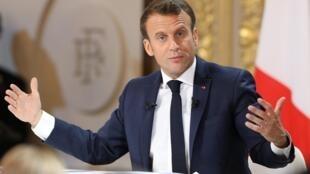 Emmanuel Macron lors de la conférence de presse du 25 avril 2019 à l'Elysée.