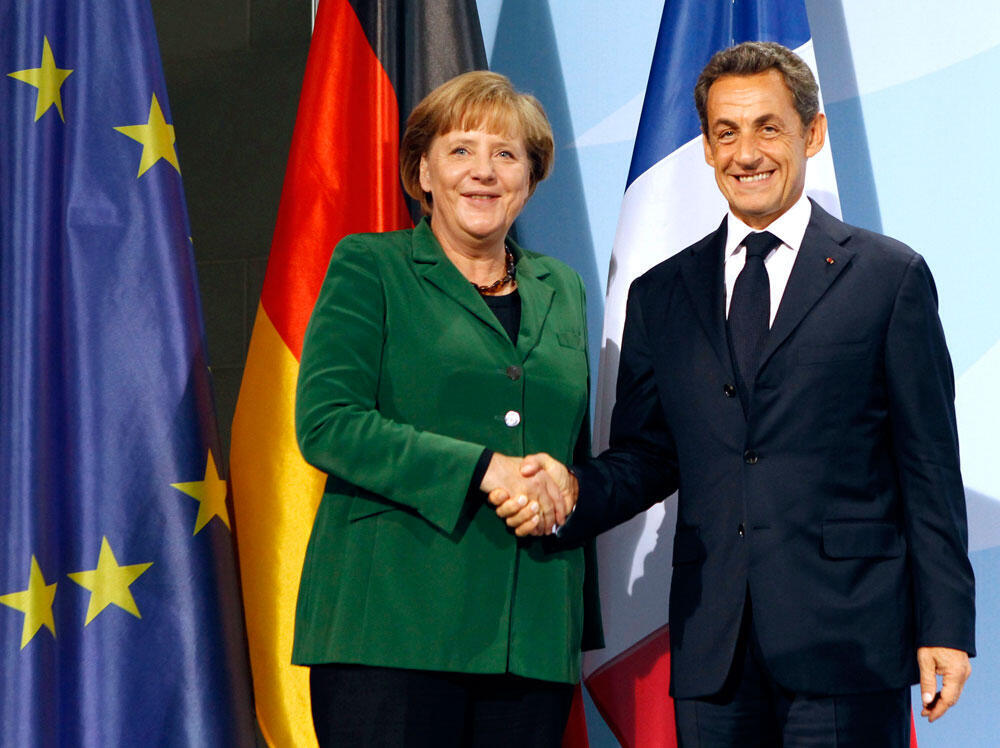 លោកស្រីនាយករដ្ឋមន្ត្រីអាល្លឺម៉ង់ Angela Merkel  និងលោកប្រធានាធិបតីបារាំងសាកូហ្ស៊ី