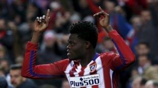 Thomas Partey célèbre son premier but de la saison avec l'Atlético Madrid, le 2 janvier 2016.