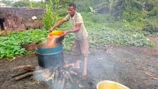 Artisanal extraction of palm oil by a villager in Mombokanda, Mai Ndombe province, November 2020.