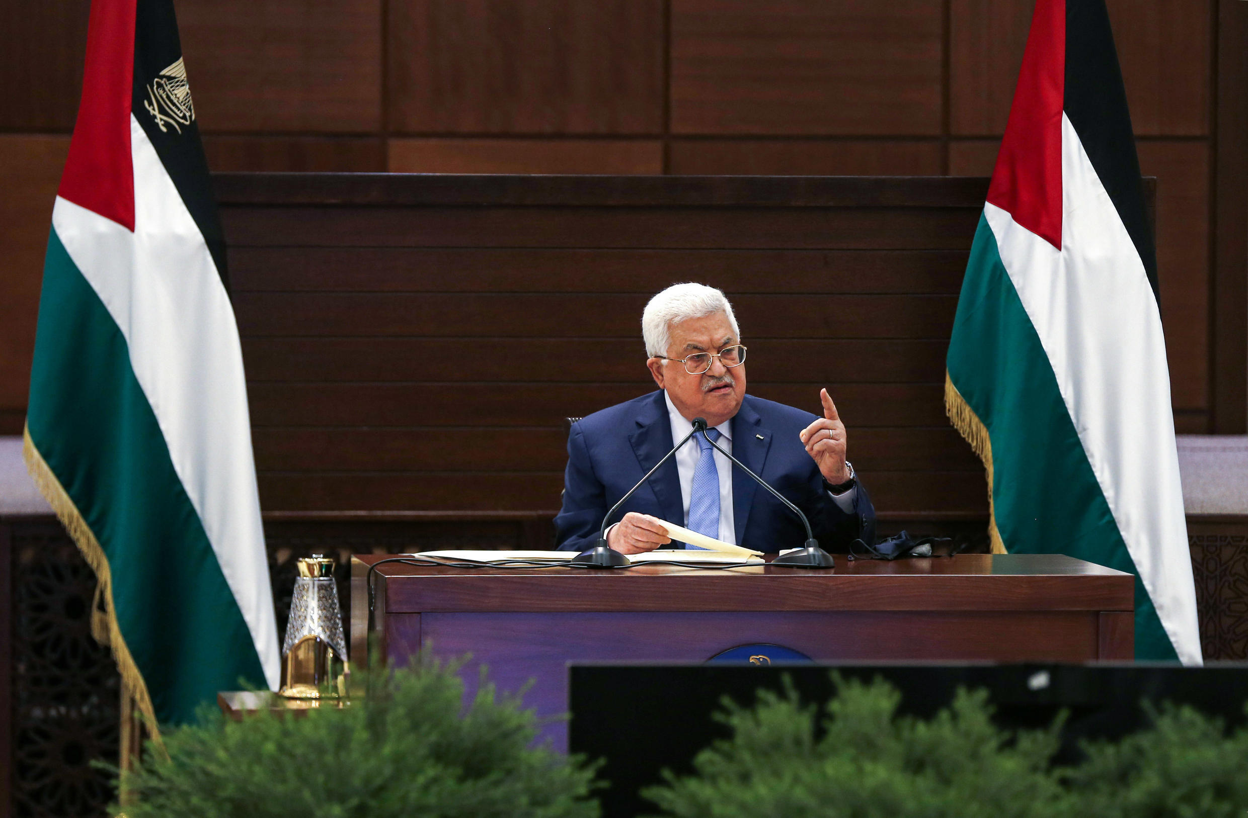 Palestinian president Mahmud Abbas, seen in Ramallah in September 2020, has said the Palestinian Authority will restore cooperation with Israel