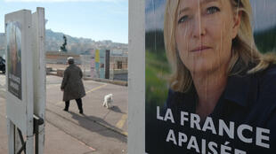 Marine Le Pen campaign poster in Marseille, February 2017.