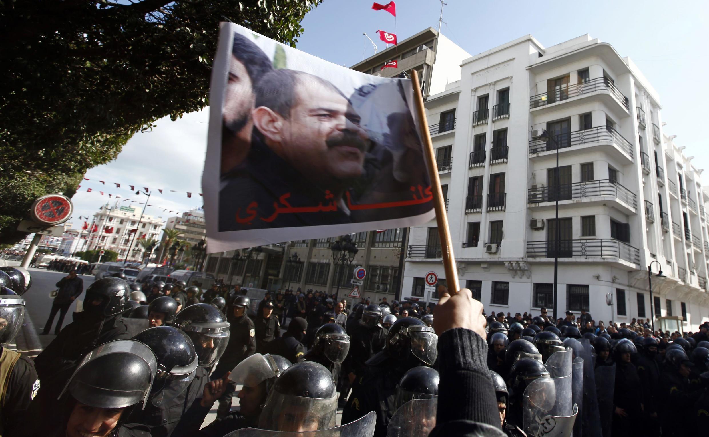 A Tunis, des manifestations ont eu lieu suite à l'assassinat de Chokri Belaïd, le 6 février 2013.