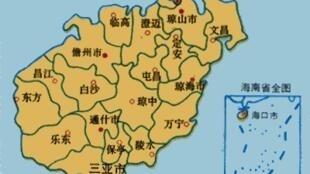 圖為網絡海南省地圖