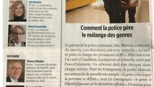 Nota sobre a mudança de regras no tratamento de transgêneros publicada pela revista Le Point.
