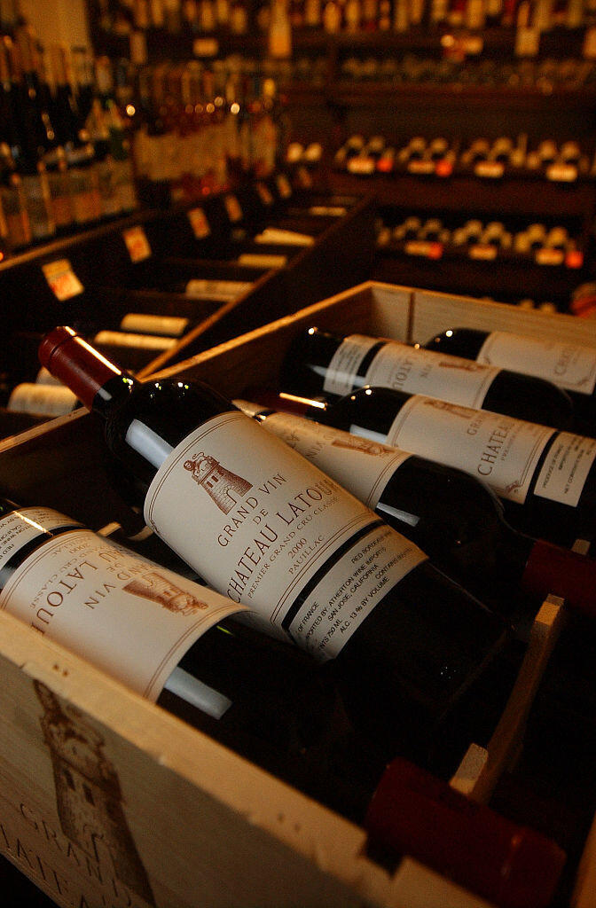 Bottles of French Château Latour wine on sale in a winery in West Hollywood, Los Angeles.