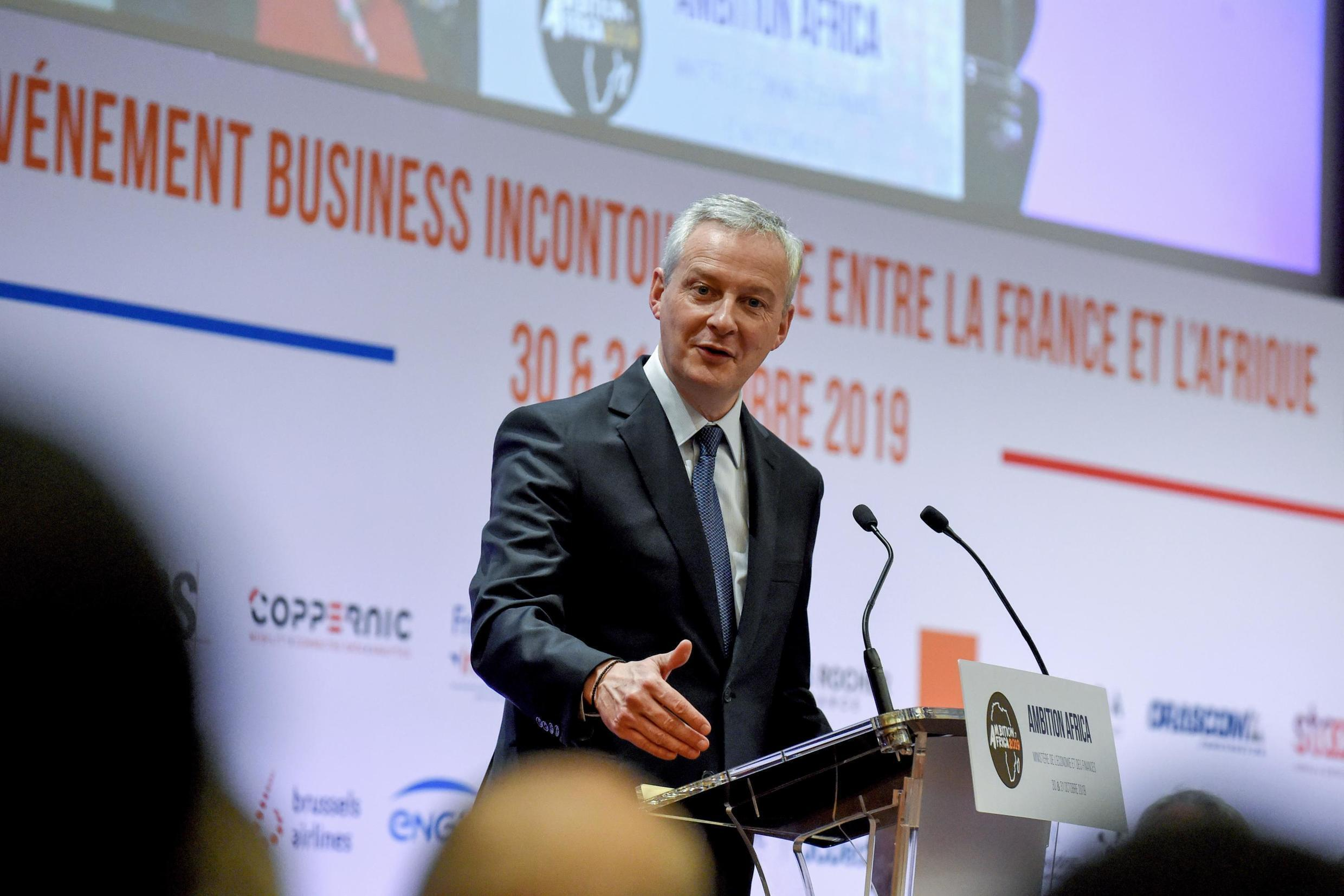 """French Economy and Finance Minister Bruno Le Maire addresses the opening session of the conference """"Invest for Growth in Africa"""" organised by French private equity association France Invest on October 30, 2019"""