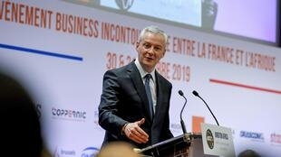 "French Economy and Finance Minister Bruno Le Maire addresses the opening session of the conference ""Invest for Growth in Africa"" organised by French private equity association France Invest on October 30, 2019"