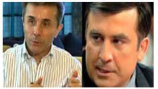 Bidzina Ivanichvili (G), président du parti «Le rêve géorgien» et le président Saakashvili (D).