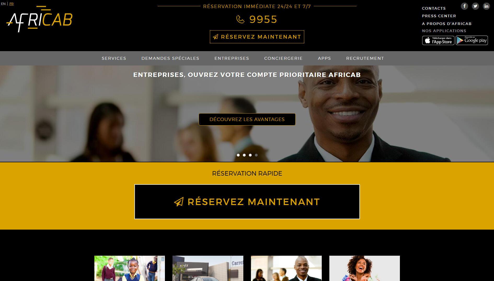 La page d'accueil d'Afri-cab