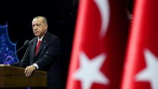 Tổng thống Thổ Nhĩ Kỳ Erdogan phát biểu trong một cuộc mít tinh tại Ankara, Thổ Nhĩ Kỳ, ngày 26/10/2020.