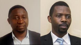 Frank Habineza à gauche et Philippe Mpayimana à droite, deux candidats challengers de Paul Kagame à l'élection présidentielle rwandaise de 2017.