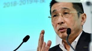 Hiroto Saikawa, directeur général de Nissan lors d'une conférence de presse au siège de la compagnie à Yokohama, Japon, le 25 juillet 2019.