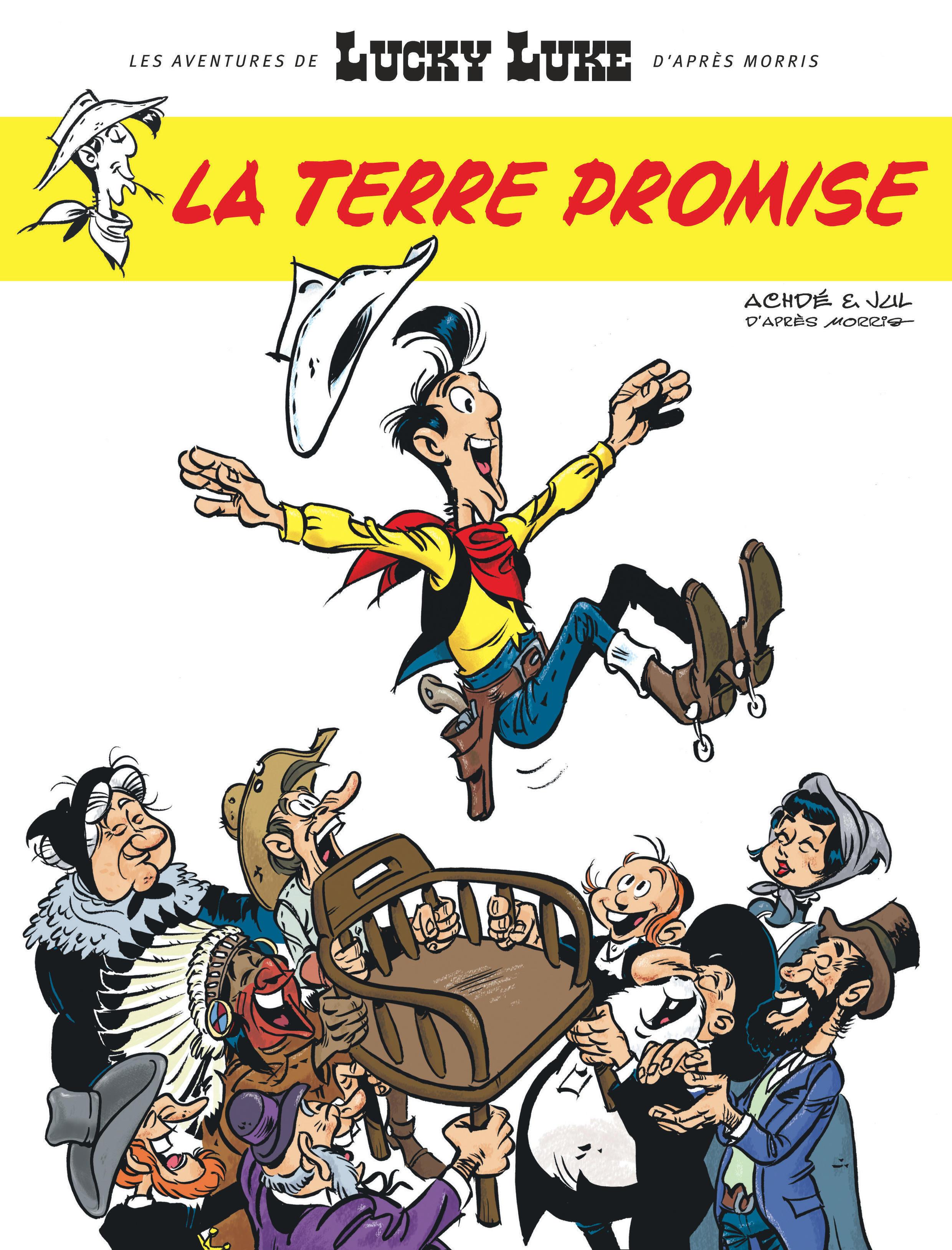 Couverture de la nouvelle aventure de Lucky Luke par Achdé et Jul.