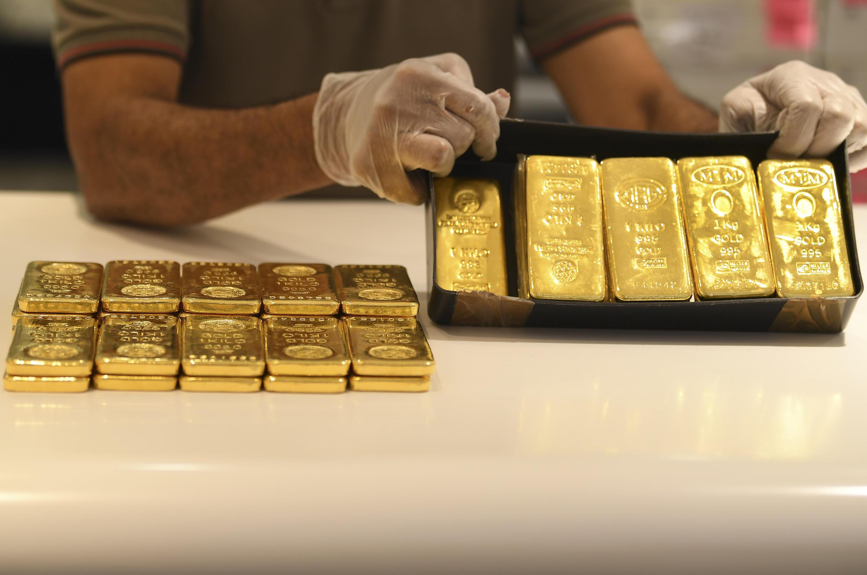 法广存档图片:迪拜金店里的金条 摄于2020年5月13日 Image d'archive RFI : lingots d'or dans une boutique de Dubaï, le 13 mai 2020