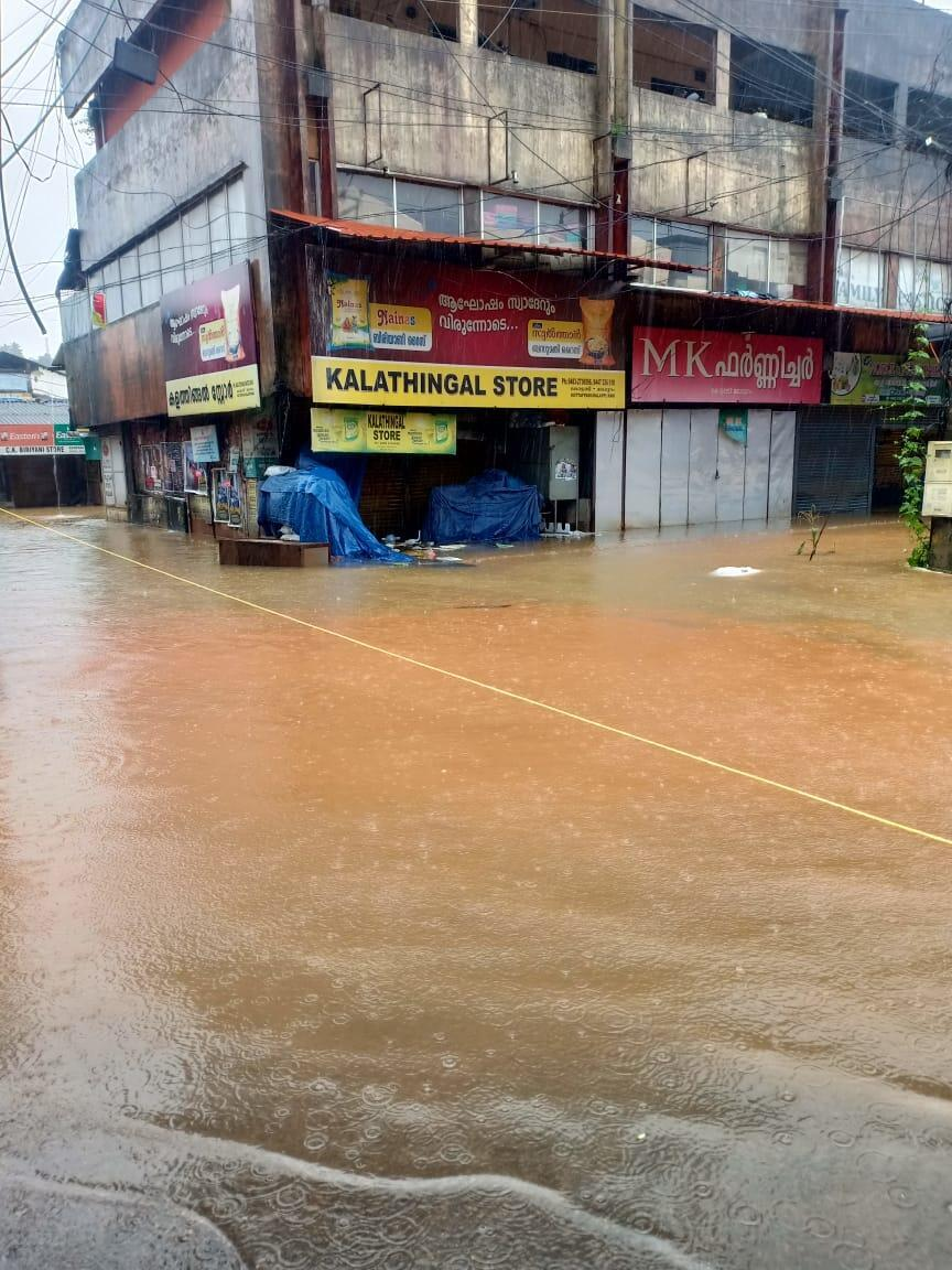 Commercial market in Mallapuram, Kerala that was submerged in unprecedented rains