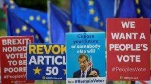 Des pancartes anti-Brexit et des drapeaux européens sont placardés devant le Parlement, en prévision des prochaines élections européennes au Royaume-Uni.