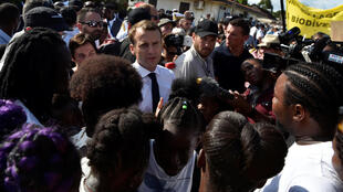 Emmanuel Macron after arriving in the Guiana town of Maripasoula on Thursday