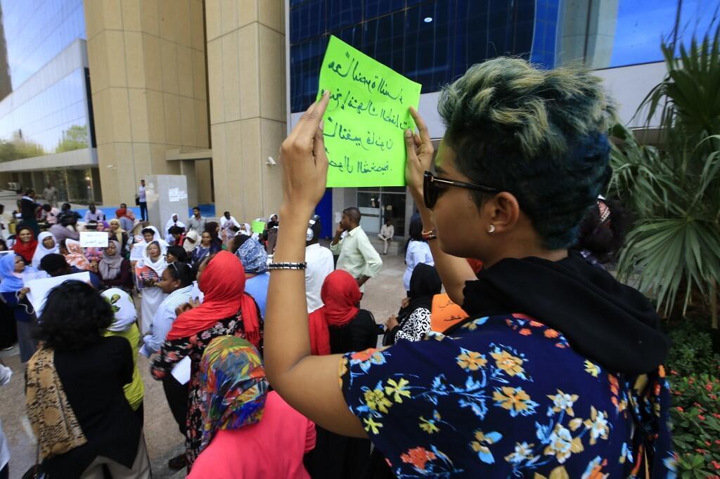 Manifestation de femmes soudanaises à Khartoum, devant le ministère de la Justice, le 8 mars 2020.